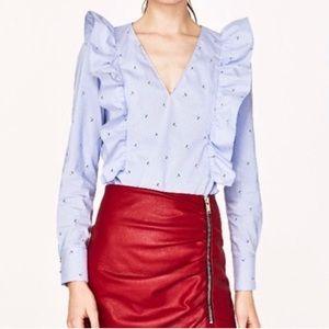 Zara umbrella top blouse NWT XS
